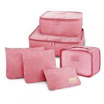 Kit Organizador de Malas de 6 Peças Rosa Jacki Design -