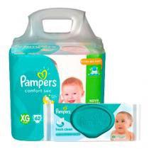 Kit Pampers Fralda Descartável Confort Sec XG 62 Unidades + Lenços Umedecidos Fresh Clean 48 Unidades - PAMPERS