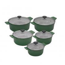 Kit panelas plus em alumínio fundido revestimento cerâmica antiaderente 5 peças verde - Aluminios j.r