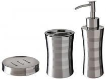 Kit para Banheiro 3 Peças Prata - Mor Relux 8473