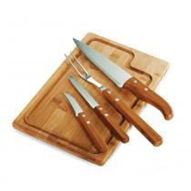 Kit para Churrasco em Bambu Inox Dallas 5 Peças Welf - Welf