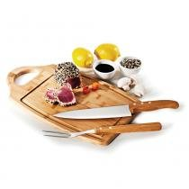 Kit para Churrasco em Bambu Inox Ottawa 3 Peças Welf -