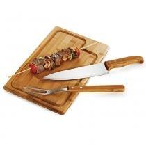 Kit para Churrasco em Bambu Inox Texas 3 Peças Welf -