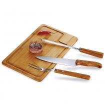 Kit para Churrasco em Bambu Inox Texas 4 Peças v2 Welf -