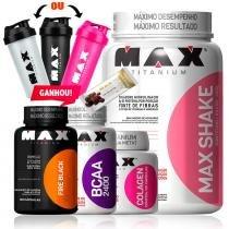 48a0e9ff8 Kit Para Emagrecer Bcaa + Colageno + Shake + Termogenico - Max titanium