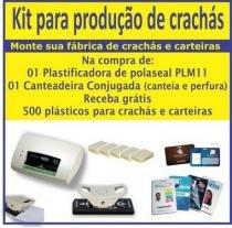 Kit para produção de crachás  plastificadora, canteadeira e perfurador ovoide - Excentrix