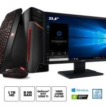"Kit: PC Gamer Acer GX-783-BR11 Corei5 8GB 1TB GeForce 1050Ti 4GB Win10 + Monitor Acer V246HQL 23.6"" -"