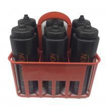 Kit Porta Squeeze Vermelha com 6 Squeeze c/ logo preta preta Rythmoon -