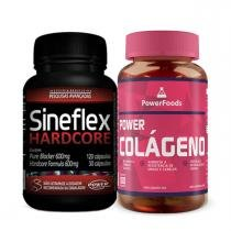 Kit Power Colágeno 100 Cáps - PowerFoods + Sineflex HardCore 150 Cáps - Power Supplements - PowerFoods