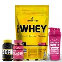 Kit Power Whey 907g com PowerBCAA 60cáps mais Colágeno 50cáps e Coq 700ml - PowerFoods