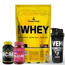 Kit Power Whey 907g  com PowerBCAA 60cáps mais Colágeno 50cápsg e Coq 700ml. - PowerFoods