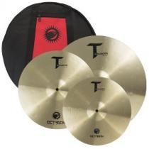 Kit pratos bateria tm01 set 14+16+20 com bag tasmann octagon -