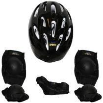 Kit proteção infantil skate bel joelheira capacete tamanho p preto - Belfix