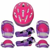 Kit proteção infantil skate bel joelheira capacete tamanho p rosa - Belfix