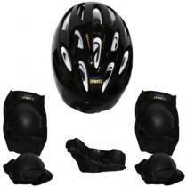Kit proteção para skate bel joelheira capacete tamanho g preto - Belfix