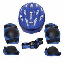 Kit proteção para skate bel joelheira capacete tamanho m azul - Belfix