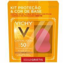 Kit protetor solar facial vichy capitail soleil toque seco fps50 50g + esponja -