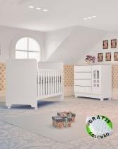 Kit Quarto de bebê Selena branco com berço-cômoda(colchão grátis) Carolina Baby -