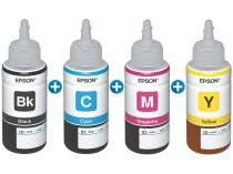 Kit Refil de Tinta Epson 4 Unidades - Preto + Amarelo + Ciano + Magenta