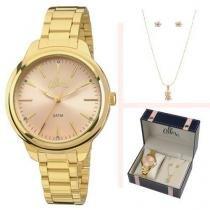 Kit Relógio Allora Feminino C/ Colar E Brincos Al2035faj/K4t -