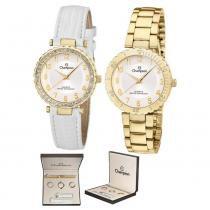 kit Relógio analógico feminino champion dourado com duas pulseiras cn28759h - champion