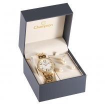 Kit Relógio Feminino Champion Analógico CN29605W+ Semijoia - Dourado - Único -