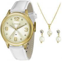 Kit Relógio Feminino Lince Dourado Mais Conj Colar e Brinco - lince