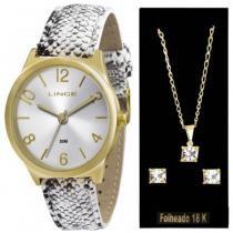 Kit Relógio Feminino Lince Dourado Mais Conj Corrente e Brico -
