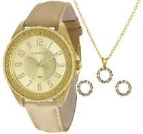 Kit Relógio Feminino Lince Dourado Mais Conj Corrente e Brinco -