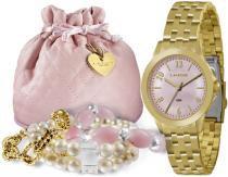 Kit relógio feminino lince dourado mais conj pulseira - lince