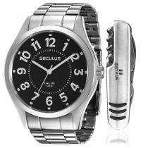 20403d38ae34a Kit Relógio Masculino Seculus Analógico 28866G0SVNA3KZ - Prata -