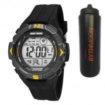Kit Relógio Mormaii Masculino MO2908/8Y + Squeeze Automático 1lt - Rythmoon