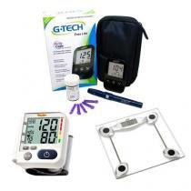 Kit Saúde G-Tech (Aparelho Lp200 Kit Medidor De Glicose Free Lite E Balança Glass 200) -