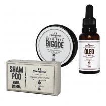 Kit Shampoo em Barra 65g Cera para Bigode 20g Óleo para Barba Wood 30ml - Beard Brasil - Beard Brasil