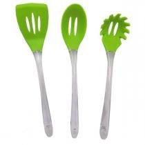 Kit Silicone Utensilio Cozinha Espatula Pegador Massa Colher Verde - Braslu