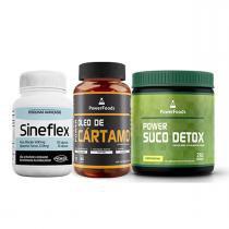 Kit Sineflex 150cáps Power Supplements + Suco Detox 250 g + Óleo de Cártamo 120 cáps - PowerFoods -