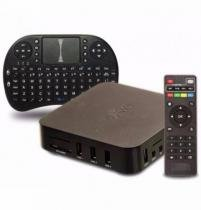 Kit smart tv box mxq netflix youtube + mini teclado sem fio com touchpad mouse -