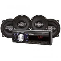 Kit Som Automotivo Multilaser Mp3 One Quadriaxial + Dois Alto Falantes + Tela Led + Entrada SD - AU954 - Dourado - Multilaser