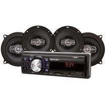 Kit Som Automotivo Multilaser Mp3 One Quadriaxial + Dois Alto Falantes Tela Led Entrada Sd - Au954 - Multilaser