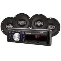 Kit Som Automotivo Multilaser Mp3 One Quadriaxial Quatro Alto Falantes Tela Led Entrada Sd - Au953 - Multilaser