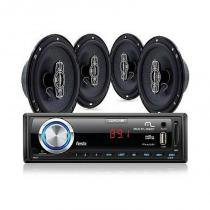 Kit Som Automotivo Multilaser Mp3 Wave Usb + 2 Pares De Alto-Falantes 6 - 240 Watts Rms -