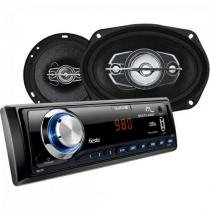 Kit som automotivo radio mp3 + 2 alto falantes 6 + 2 alto falantes 6x9 au955 preto multilaser -