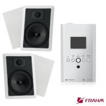 "Kit Som de parede Slim in Wall 110V + Par Arandelas 6"" 30w - Frahm"