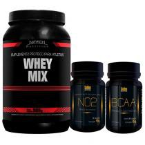 Kit Suplementos: Whey Mix Morango 900G Nitech + No2 Golden + Bcaa Golden - Nitech Nutrition