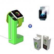 Kit Suporte Base/Dock para relógio Watch + Película de Vidro 42mm (Verde) - BD Net Imports