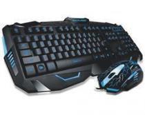 Kit Teclado e Mouse Multilaser Gamer com Fio Detalher Azuis - TC195 -