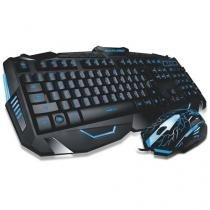 Kit Teclado E Mouse Multilaser Gamer Com Fio Detalher Azuis - Tc195 - Multilaser