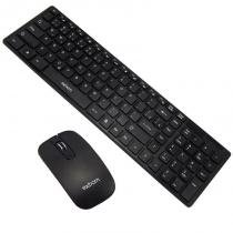 Kit Teclado + Mouse Sem Fio Wireless Usb Exbom BK-S1000 Preto com Capa Silicone -