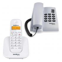 Kit Telefone sem Fio Intelbras TS3110 Branco + Telefone com Fio Intelbras Pleno com Chave Cinza Ártico - Intelbras