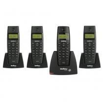 Kit Telefone Sem Fio Intelbras TS40C Preto + 2UN Telefones Sem Fio Intelbras TS40R Preto -